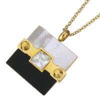 Ожерелье из ракушки, нержавеющая сталь, с Белая ракушка & Кристаллы & канифоль, Прямоугольная форма, плакирован золотом, Овальный цепь & Женский & граненый, 23x27mm, 1.5mm, Продан через Приблизительно 17 дюймовый Strand