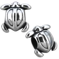Европейские стильные бусины из нержавеющей стали, нержавеющая сталь, Черепаха, без Тролль & чернеют, 14x14.50x9.50mm, отверстие:Приблизительно 5mm, 10ПК/Лот, продается Лот