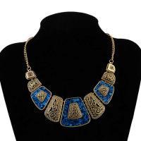 Ожерелья из полимерной смолы, цинковый сплав, с канифоль, с 7cm наполнитель цепи, плакированный цветом под старое золото, Женский, не содержит свинец и кадмий, 47x46x5mm, Продан через Приблизительно 19.5 дюймовый Strand