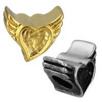 нержавеющая сталь бусины Европейская стиль, Форма крыла, Другое покрытие, без Тролль, Много цветов для выбора, 12x11x9mm, отверстие:Приблизительно 5mm, 10ПК/сумка, продается сумка