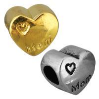 нержавеющая сталь бусины Европейская стиль, Сердце, слово мама, Другое покрытие, без Тролль, Много цветов для выбора, 12x11x8mm, отверстие:Приблизительно 5mm, 10ПК/сумка, продается сумка
