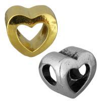 нержавеющая сталь бусины Европейская стиль, Сердце, Другое покрытие, без Тролль, Много цветов для выбора, 12x11x8mm, отверстие:Приблизительно 5mm, 10ПК/сумка, продается сумка