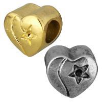 Европейские стильные бусины из нержавеющей стали, нержавеющая сталь, Сердце, Другое покрытие, с рисунками звезды & без Тролль, Много цветов для выбора, 11x10x8mm, отверстие:Приблизительно 5mm, внутренний диаметр:Приблизительно 1mm, 10ПК/сумка, продается сумка