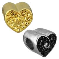 Европейские стильные бусины из нержавеющей стали, нержавеющая сталь, Сердце, Другое покрытие, без Тролль, Много цветов для выбора, 11x10.50x10.50mm, отверстие:Приблизительно 5mm, внутренний диаметр:Приблизительно 1mm, 10ПК/сумка, продается сумка