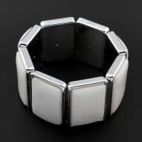 Белая ракушка Ожерелье, с Латунь, Квадратная форма, Мужская, белый, 34x24x9mm, длина:Приблизительно 23.5 дюймовый, 10пряди/сумка, продается сумка