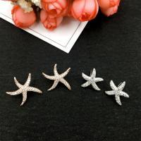Серьги из серебра, Латунь, чистое серебро гвоздик, Морская звезда, Другое покрытие, разный размер для выбора & Женский & с кубическим цирконием, продается Пара