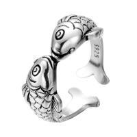 Кольца из латуни, Латунь, Рыба, плакированный настоящим серебром, Мужская & чернеют, не содержит никель, свинец, 16-18mm, размер:5-7, продается PC