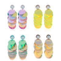 цинковый сплав Сережка, с Кристаллы & пластик, плакирован серебром, Женский, Много цветов для выбора, 26x78mm, продается Пара