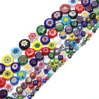 Бисер, выполненный в технике миллефиори, Стекло Шеврон, Плоская круглая форма, разный размер для выбора, отверстие:Приблизительно 1mm, Продан через Приблизительно 16 дюймовый Strand