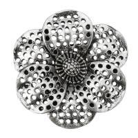 Цветок цинкового сплава разъем, цинковый сплав, Форма цветка, плакированный цветом под старое серебро, петля 2/2 & отверстие, не содержит никель, свинец, 30x30x7mm, отверстие:Приблизительно 2mm, 100ПК/сумка, продается сумка
