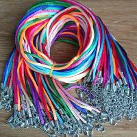 Вощеная хлопок шнур Шнурок для ожерелий, Женский, разноцветный, 3mm, длина:Приблизительно 17.7 дюймовый, 60ПК/Лот, продается Лот