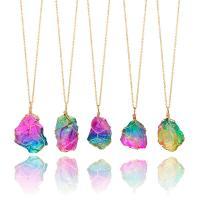 Железо Ожерелье, с Природный камень, плакирован золотом, Мужская & Овальный цепь, 4mm, Продан через Приблизительно 22 Strand