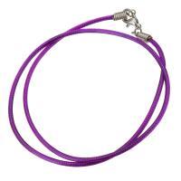 Шнуры для ожерелий, Нейлоновый шнурок, латунь Замок-карабин, плакирован серебром, 2mm, длина:Приблизительно 15 дюймовый, 10пряди/Лот, продается Лот