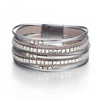 PO Кожа браслет, цинковый сплав замок магнитный, плакирован серебром, многослойный & Мужская & со стразами, не содержит никель, свинец, Продан через Приблизительно 8 дюймовый Strand