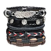Завернутый браслет, Шнур из натуральной кожи, с Вощеный шнур нейлона & цинковый сплав, Другое покрытие, Мужская & регулируемый, длина:Приблизительно 7-7.8 дюймовый, 5пряди/указан, продается указан