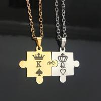 нержавеющая сталь Двойное ожерелье, Корона, Другое покрытие, Овальный цепь & для пара, Много цветов для выбора, Продан через Приблизительно 22 дюймовый Strand