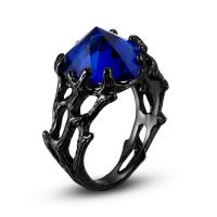 Латунь Кольцо, с Стеклянный, Сердце, разный размер для выбора & Женский, не содержит никель, свинец, продается PC