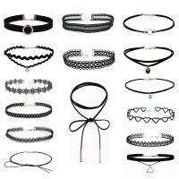 Ожерелье Мода Choker, цинковый сплав, с Кружево, с 2inch наполнитель цепи, Другое покрытие, разные стили для выбора & Женский, не содержит никель, свинец, длина:Приблизительно 12 дюймовый, продается Лот