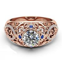Кольца из латуни, Латунь, плакирование настоящим розовым золотом, разный размер для выбора & Женский & со стразами & отверстие, не содержит никель, свинец, 8mm, продается PC