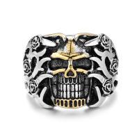 Модные кольца, цинковый сплав, Череп, Другое покрытие, панк-стиль & Мужская & разный размер для выбора & чернеют, не содержит никель, свинец, 23mm, продается PC