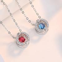 Серебряное ожерелье, 925 пробы, с 1.96inch наполнитель цепи, покрытый платиной, Овальный цепь & Женский & с кубическим цирконием, Много цветов для выбора, 10x10.26mm, длина:Приблизительно 15.7 дюймовый, 2пряди/Лот, продается Лот