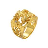 Модные кольца, цинковый сплав, плакирован золотом, разный размер для выбора & Мужский & со стразами, продается PC