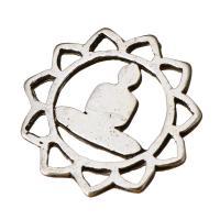 Ювелирные кабошоны из цинкового сплава, цинковый сплав, Форма цветка, плакированный цветом под старое серебро, не содержит никель, свинец, 17x17x1mm, 100ПК/Лот, продается Лот
