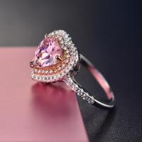 Кольца из латуни, Латунь, с кубический цирконий, Сердце, покрытый платиной, разный размер для выбора & Женский & со стразами, розовый, продается PC