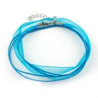блестящая лента Шнурок для ожерелий, с нейлон & Латунь, с 5cm наполнитель цепи, Много цветов для выбора, 11x0.5mm, длина:Приблизительно 15.7 дюймовый, 100пряди/сумка, продается сумка