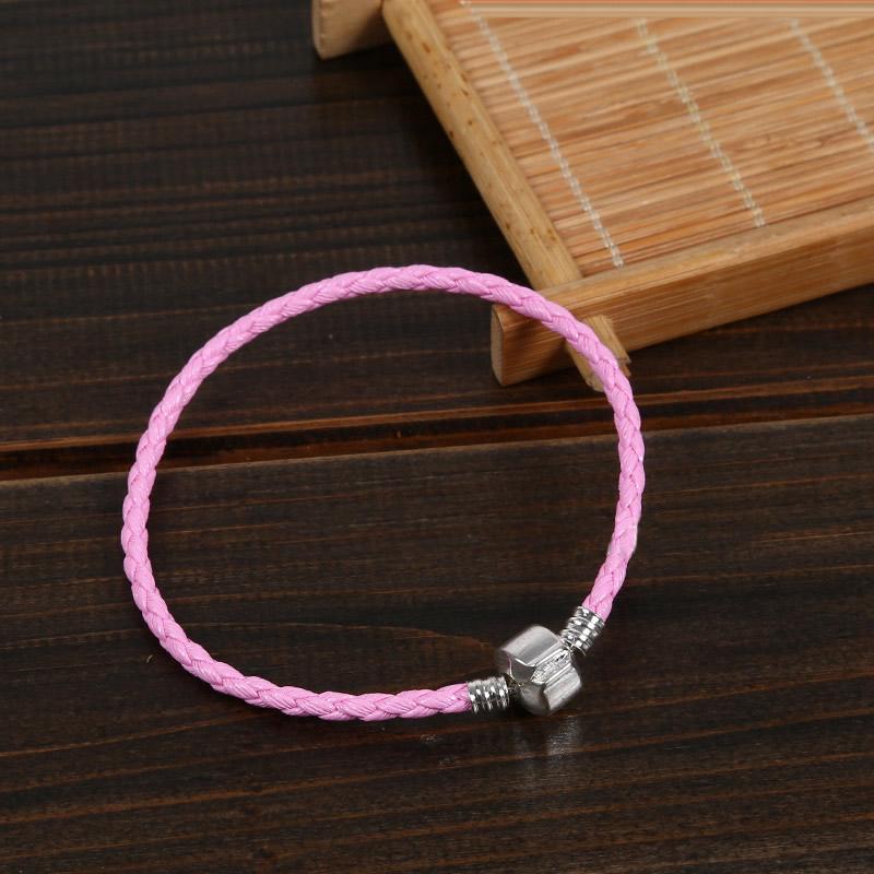 Pu Leather European Bracelet Cord Brass European Clasp
